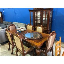 LARGE DARK WOOD ORANTE CLASSIC DINING SET WITH 6 CHAIRS & GLASS FRONT CABINET