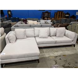 MODERN CREAM PILLOWBACK SECTIONAL SOFA WITH CHAISE LOUNGE - MINOR SCUFFS