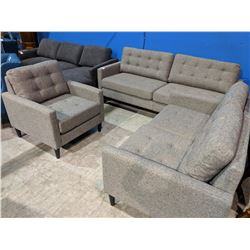 MODERN GREY TUFTED PILLOWBACK SOFA, LOVE SEAT & CHAIR