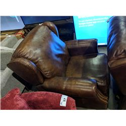 MODERN STUDDED LEATHER RECLINER - CUT ON RIGHT ARM