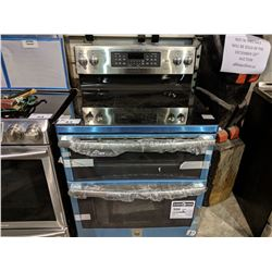 MABE PROFILE STAINLESS STEEL 2 DOOR CERAMIC TOP STOVE - (MISSING KNOB, DAMAGE ON SIDES/NECK)