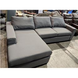 MODERN GREY PILLOWBACK SOFA WITH CHAISE LOUNGE - LIGHT STAIN