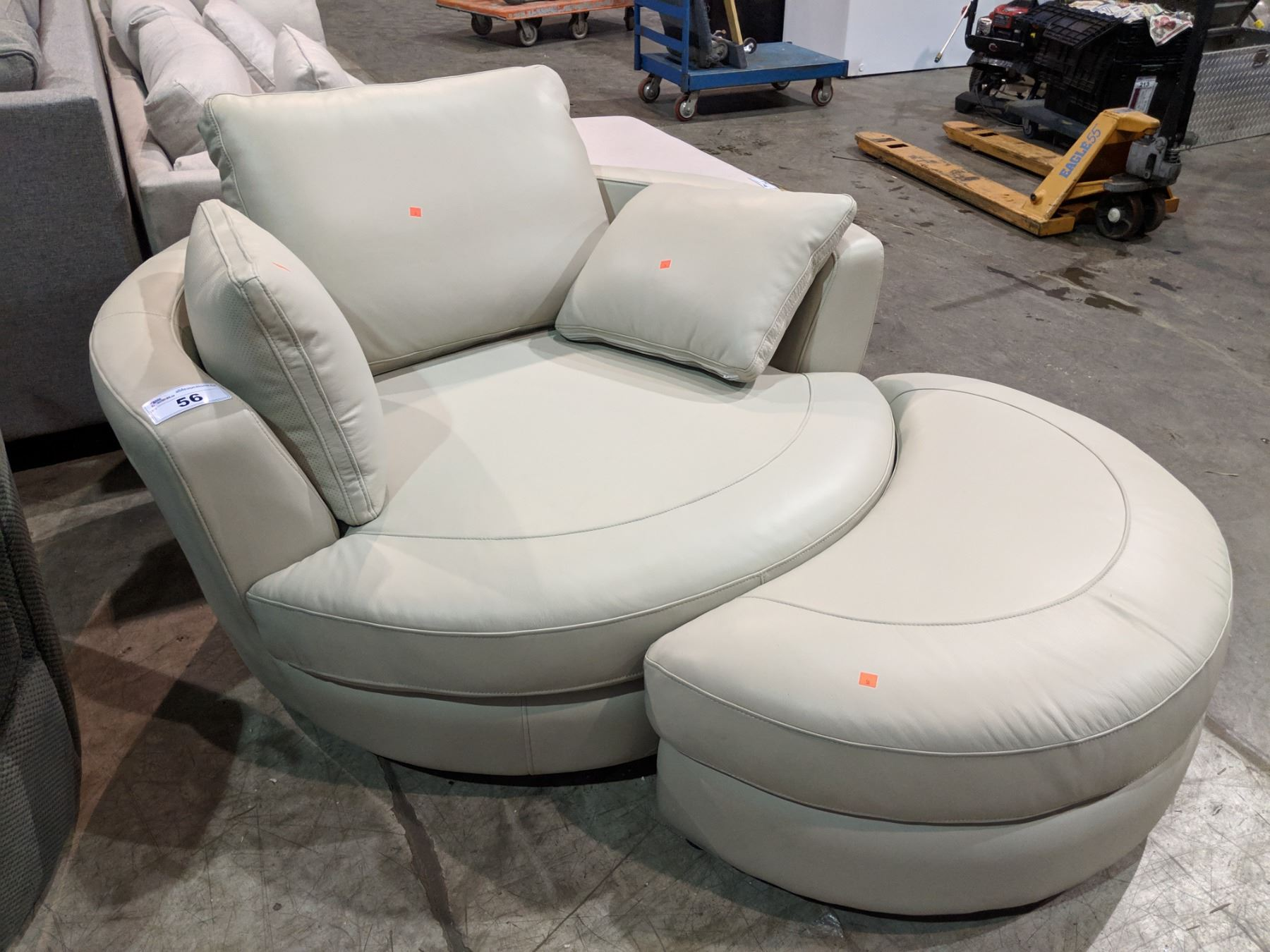 Excellent Modern Cream Leather Round Cuddle Couch With Ottoman Lamtechconsult Wood Chair Design Ideas Lamtechconsultcom
