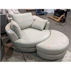 MODERN CREAM LEATHER ROUND CUDDLE COUCH WITH OTTOMAN & PILLOWS