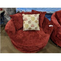 BURGUNDY MODERN ROUND CUDDLE COUCH WITH PILLOWS (NO LEGS)