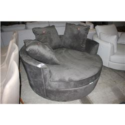 MODERN CHARCOAL ROUND CUDDLE COUCH WITH PILLOWS