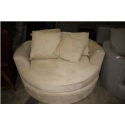 MODERN BEIGE ROUND CUDDLE COUCH WITH PILLOWS