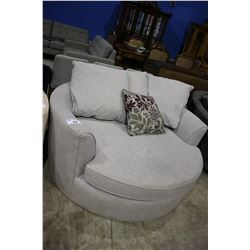 MODERN GREY ROUND CUDDLE COUCH WITH PILLOWS - TEAR ON RIGHT ARM