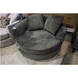 MODERN GREEN ROUND CUDDLE COUCH WITH PILLOWS - TEAR ON FRONT