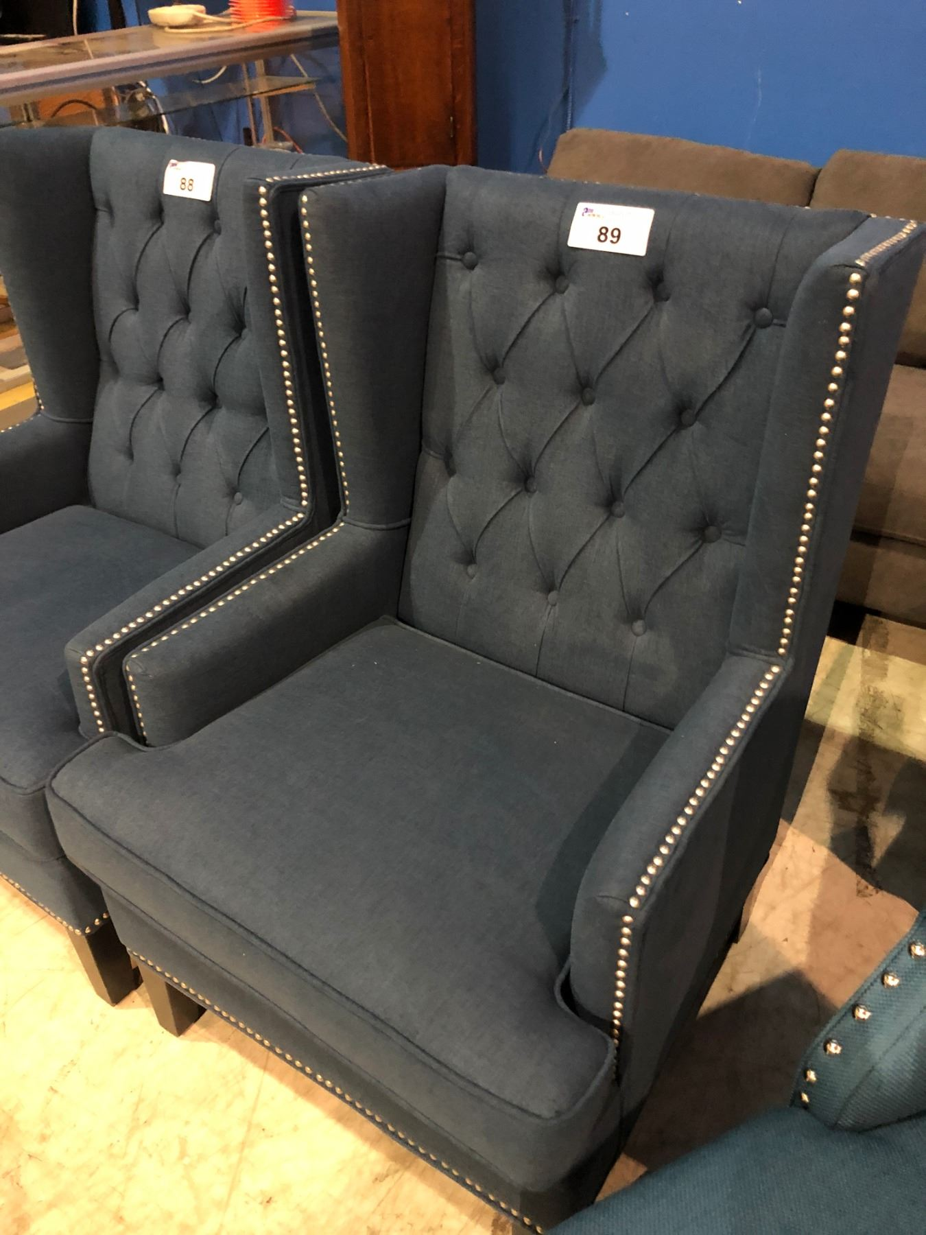 Surprising Blue Studded Modern Wingback Chair Small Hole On Top Short Links Chair Design For Home Short Linksinfo