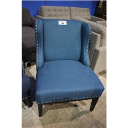 TEAL STUDDED MODERN WINGBACK CHAIR - RIP ON FRONT