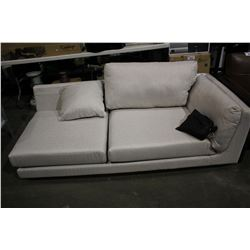 BEIGE PILLOWBACK 2 SEAT SECTIONAL END PIECE WITH PILLOWS (MISSING CUSHION)