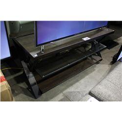 DARK WOOD & GLASS 3 TIER TV STAND - 54 X 20 INCH