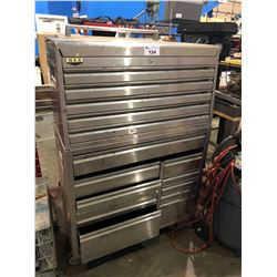 NXA STEEL HEAVY DUTY STAINLESS STEEL 16 DRAWER MOBILE TOOL CHEST WITH CONTENTS