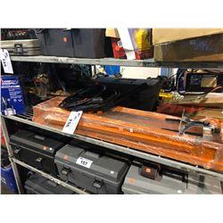 SHELF LOT OF ASSORTED SPRAY GUN, CHOP SAW, TOOL BOX & MORE