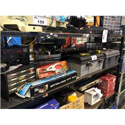 SHELF LOT OF ASSORTED TOOLBOXES & CONTENTS