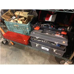 SHELF LOT OF ASSORTED TOOLS, ELECTRICAL HARDWARE & MORE