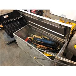 CHECKER PLATE TRUCK TOOL BOX WITH CONTENTS