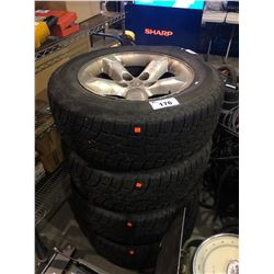 4 - WILD COUNTRY 275/60R20 TRUCK TIRES MOUNTED ON 5 BOLT DODGE TRUCK RIMS