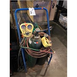 WELDING BOTTLE CART WITH BOTTLES, HOSE & TORCH