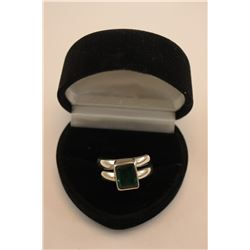 STERLING SILVER EMERALD RING - EMERALD CUT, HYDROTHERMAL GREEN FIRE COLOUR ( 8 X 6MM)