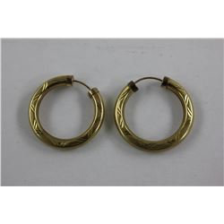 8K GOLD ENGRAVED HOOP EARRINGS