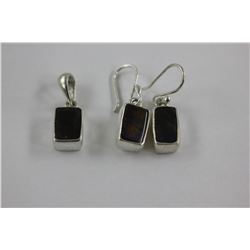 AMMOLITE EARRING AND PENDANT SET - ELONGATED EMERALD CUTS, SET IN 0.925 STERLING SILVER, STAMPED