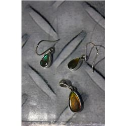 AMMOLITE EARRING AND PENDANT SET - PEAR CUTS, BLUE-GREEN-RED FIRE, SET IN 0.925 STERLING SILVER,