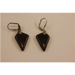 PAIR OF AMMOLITE EARRINGS - DARK PURPLE, FREE FORM DESIGN, ON LOCKING HOOKS