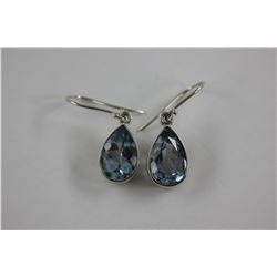BRIGHT SKY BLUE TOPAZ EARRINGS - LARGE PEAR SHAPE, SET IN 0.925 STERLING SILVER