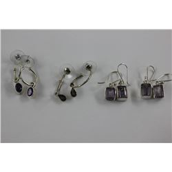 TWO SETS OF AMETHYST EARRINGS - OVAL AND EMERALD CUT, SET IN 0.925 STERLING SILVER