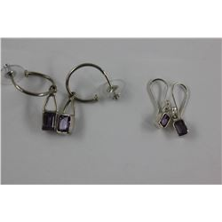 TWO PAIRS OF AMETHYST EARRINGS, HOOKS AND POSTS, SET IN 0.925 STERLING SILVER