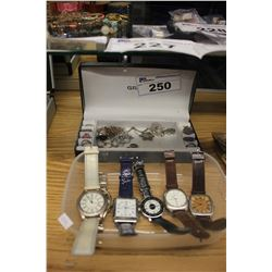 6 WATCHES AND JEWELLERY BOX WITH CONTENTS