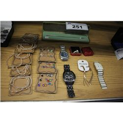 LOT OF ASSORTED JEWELLERY AND WATCHES - INCLUDING NEW BRACELETS / CHARMS
