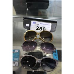 3 PAIRS OF DESIGNER SUNGLASSES WITH 1 CASE