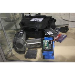 SONY CAMCORDER WITH CASE, ACCESSORIES, AND CASSETTES