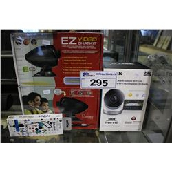 EZ VIDEO CHATKIT, D-LINK OUTDOOR WIFI CAM, AND BLUETOOTH EARBUDS