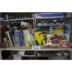 SHELF LOT OF ASSORTED BOOKS, ART SUPPLIES, GAMES, TOYS, AND MORE