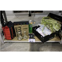 SHELF LOT INCLUDING EXUSTAR CYCLING SHOES, ROPE HAMMOCK, TWO 30 OZ. TUMBLERS, CANDLES & CANDLE