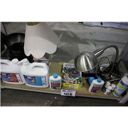SHELF LOT OF ASSORTED AQUARIUM SUPPLIES AND LAMPS INCLUDING NUTRAFIN CHEMICALS AND AUTOMATIC FEEDER