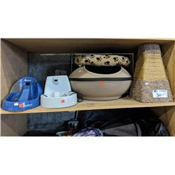 LOT OF CAT SUPPLIES INCLUDING TWO WATER FOUNTAINS, CAT HUT, SCRATCHING POST AND BED
