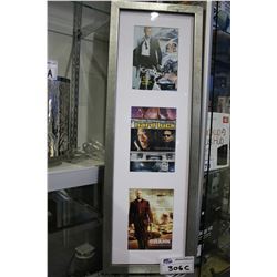 3 FILM POSTERS IN FRAME - CASINO ROYALE, HARD LUCK, AND CRANK
