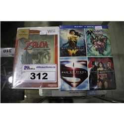 BRAND NEW DC UNIVERSE 4-FILM BLU-RAY COLLECTION AND ZELDA TWILIGHT PRINCESS FOR NINTENDO WII