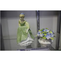 ROYAL ALBERT FORGET-ME-NOT AND ROYAL DOULTON FAIR MAIDEN