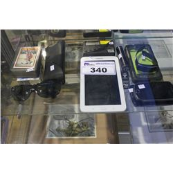 LOT OF ASSORTED ELECTRONICS AND COLLECTABLES INCLUDING SAMSUNG TABLET, CARDS, RAYBAN SUNGLASSES,