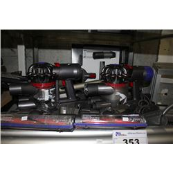 PAIR OF DYSON HANDHELD VACUUMS WITH ATTACHMENTS