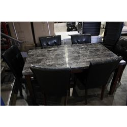 FAUX MARBLE TOP DINING TABLE WITH 6 CHAIRS