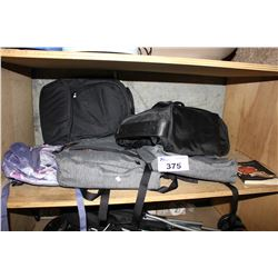 SHELF LOT OF ASSORTED BACKPACKS & CARRY BAGS