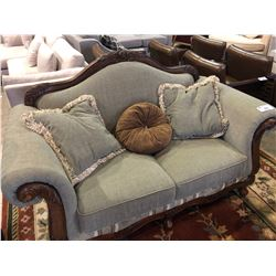 CUSTOM SOLID MAPLE BALL FOOT OVERSIZE LOVESEAT WITH THROW CUSHIONS