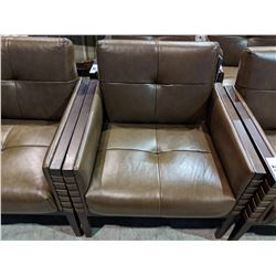 MODERN BROWN LEATHER & WOOD FRAMED OCCASIONAL CHAIR